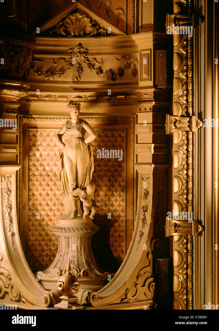 A statue of a muse at the Gaeity Theatre designed by Architect Frank Matcham in Douglas in the Isle of Man. - Stock Image