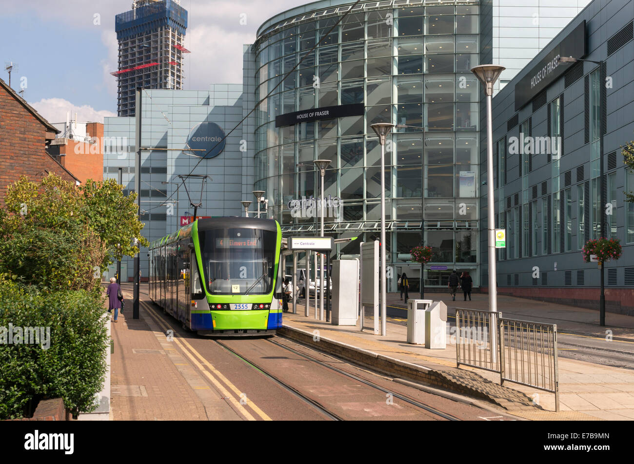 Croydon tram outside Centrale - Stock Image