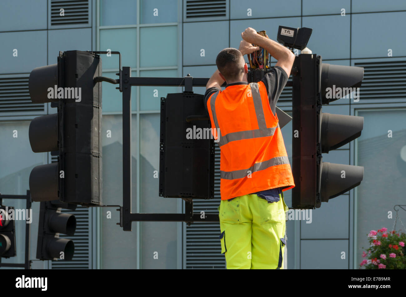 Engineer fixing a traffic light - Stock Image
