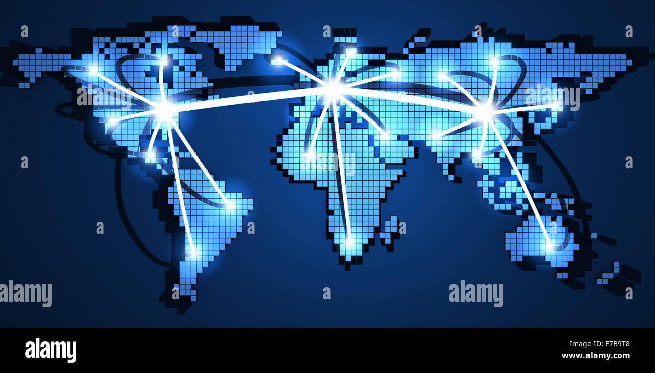 World-wide web on blue background (done in 3d) - Stock Image