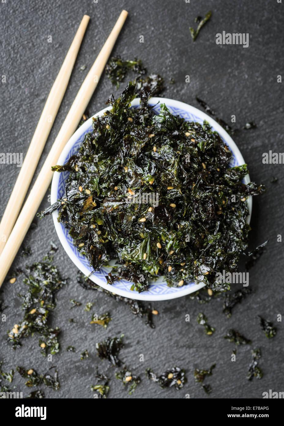 Korean traditional seasoned laver snack - Stock Image