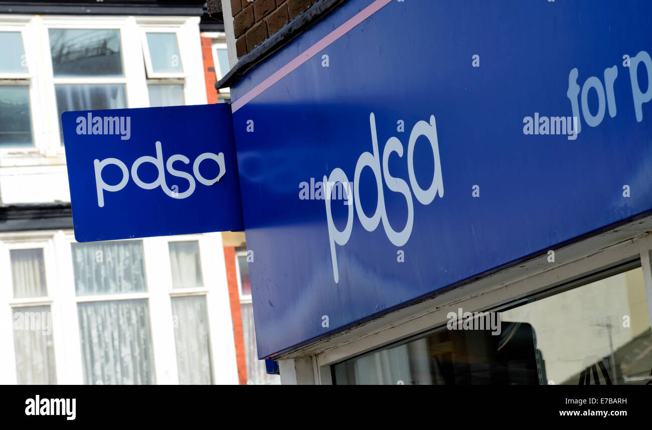 Sign above a PDSA charity shop - Stock Image