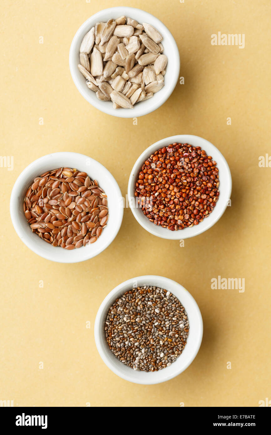 mixed seeds: chia, flax seeds, red quinoa,sunflower seeds, - Stock Image