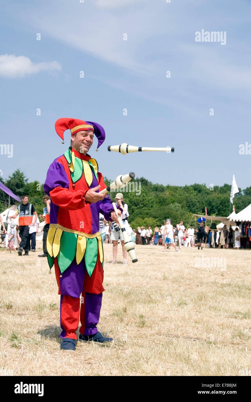 Tewkesbury, Gloucester UK July 201 : Jimmy Juggle the Jester performing at the Tewkesbury Medival Festival, an annual - Stock Image