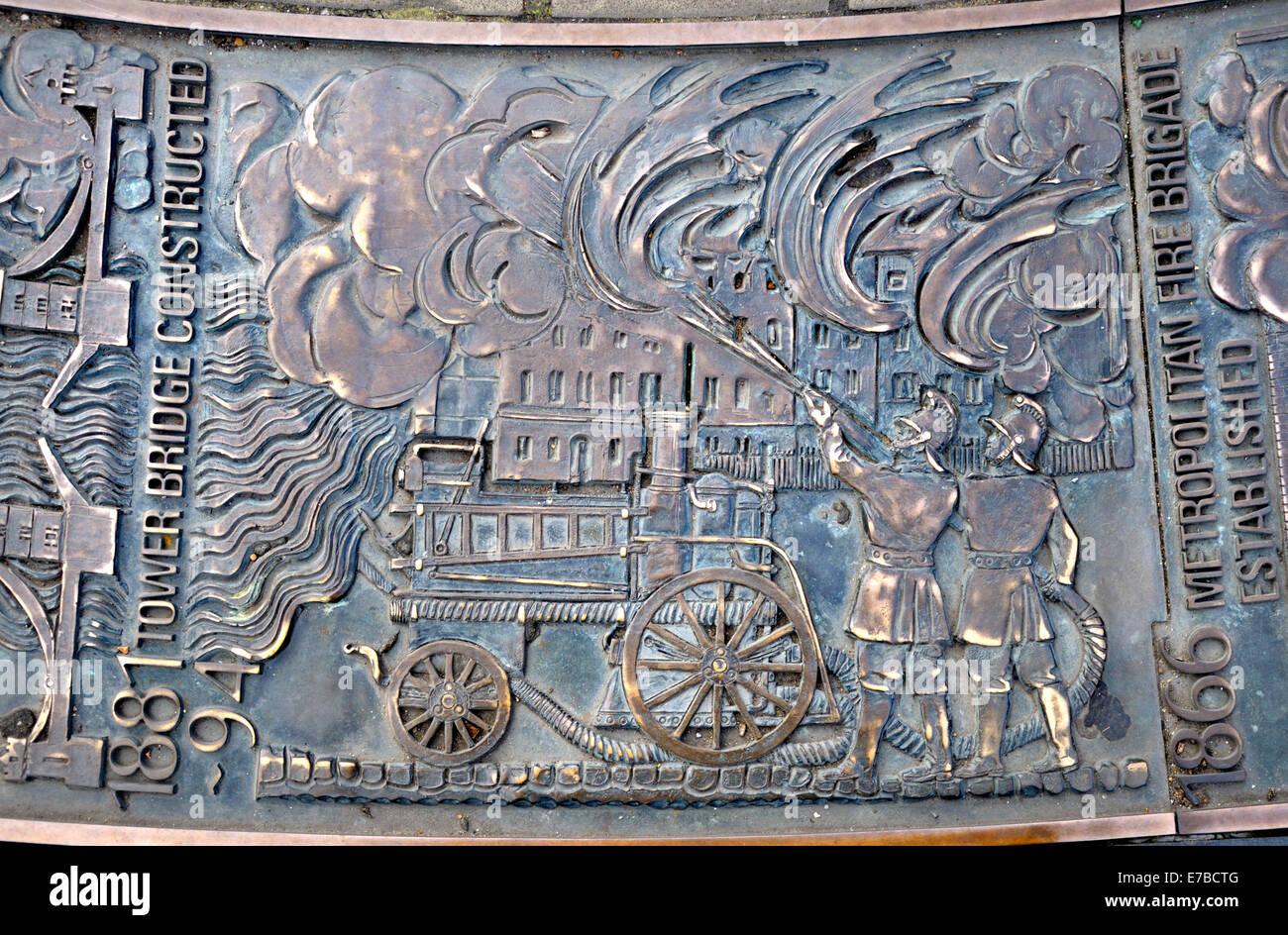 London, England, UK. Sundial (by John Chitty and Edwin Russellat) Tower Hill History of London. Metropolitan Fire - Stock Image