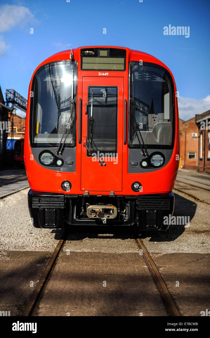 An assembled London Underground train is seen at the Bombardier Construction yard in Derby, England. - Stock Image