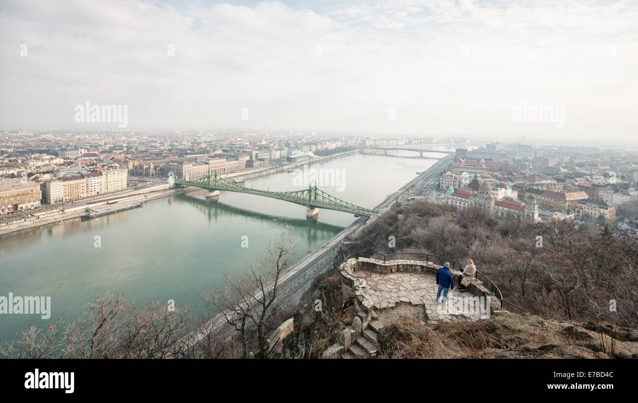 Budapest (Hungary) - A view of the city and the Danubio river with Szabadság híd bridge Stock Photo