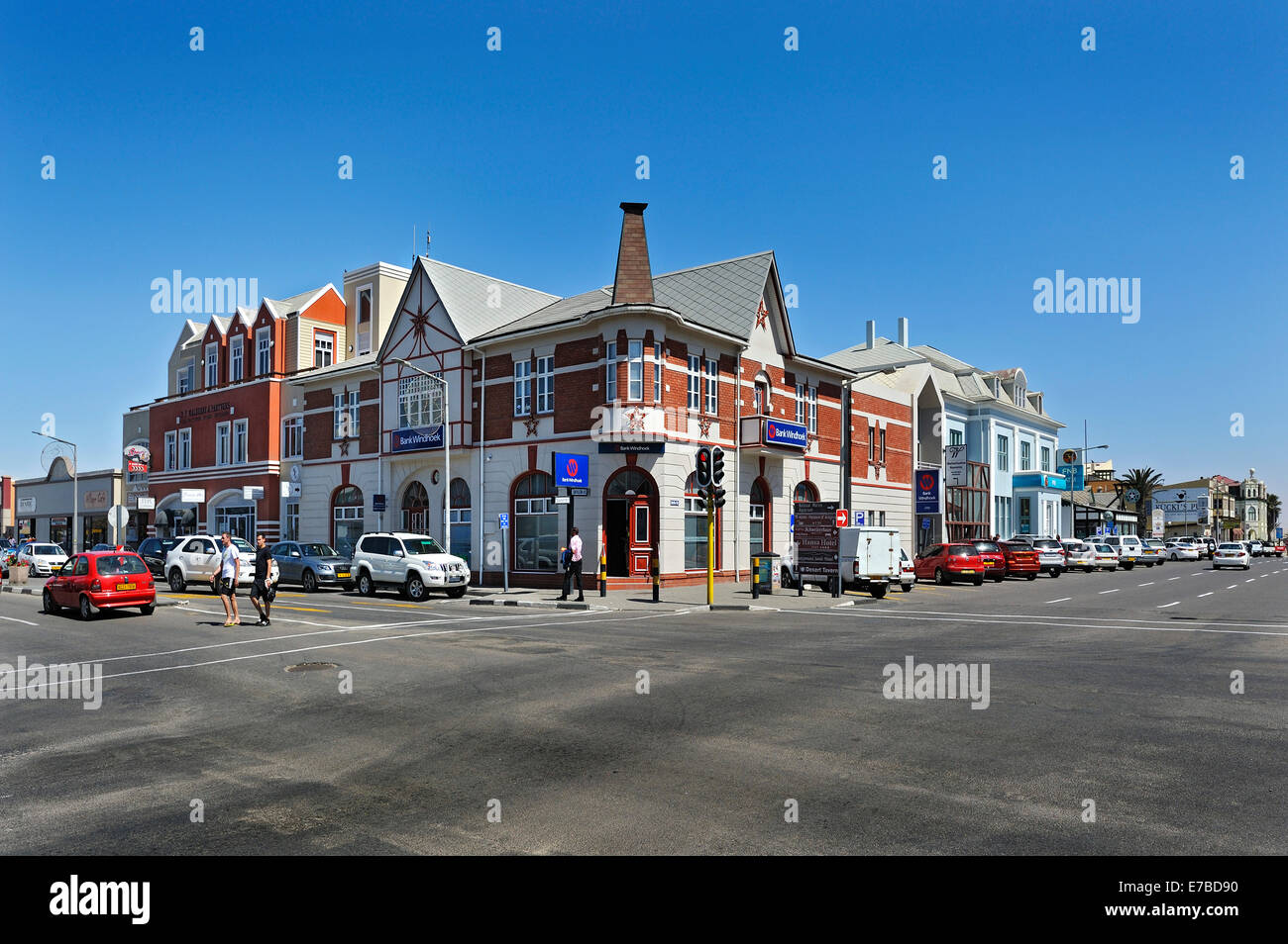 Rows of houses, Bank Windhoek, Swakopmund, Erongo Region, Namibia - Stock Image