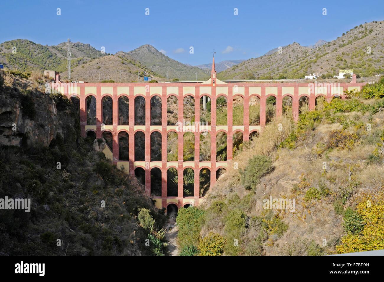 Acueducto del Aguila, Roman aqueduct, Nerja, Malaga province, Andalusia, Spain - Stock Image