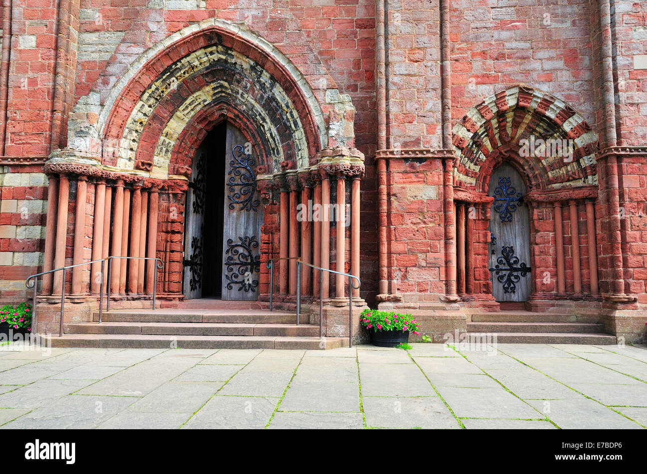 Portals of St. Magnus Cathedral, Romanesque and Norman architecture, 12th century, Kirkwall, Mainland, Orkney, Scotland - Stock Image