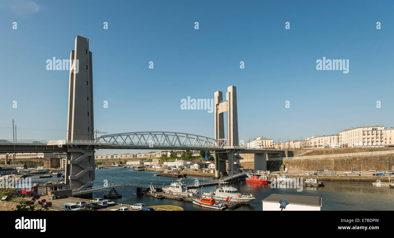 Pont de Recouvrance, drawbridge, Brest, Brittany, France - Stock Image