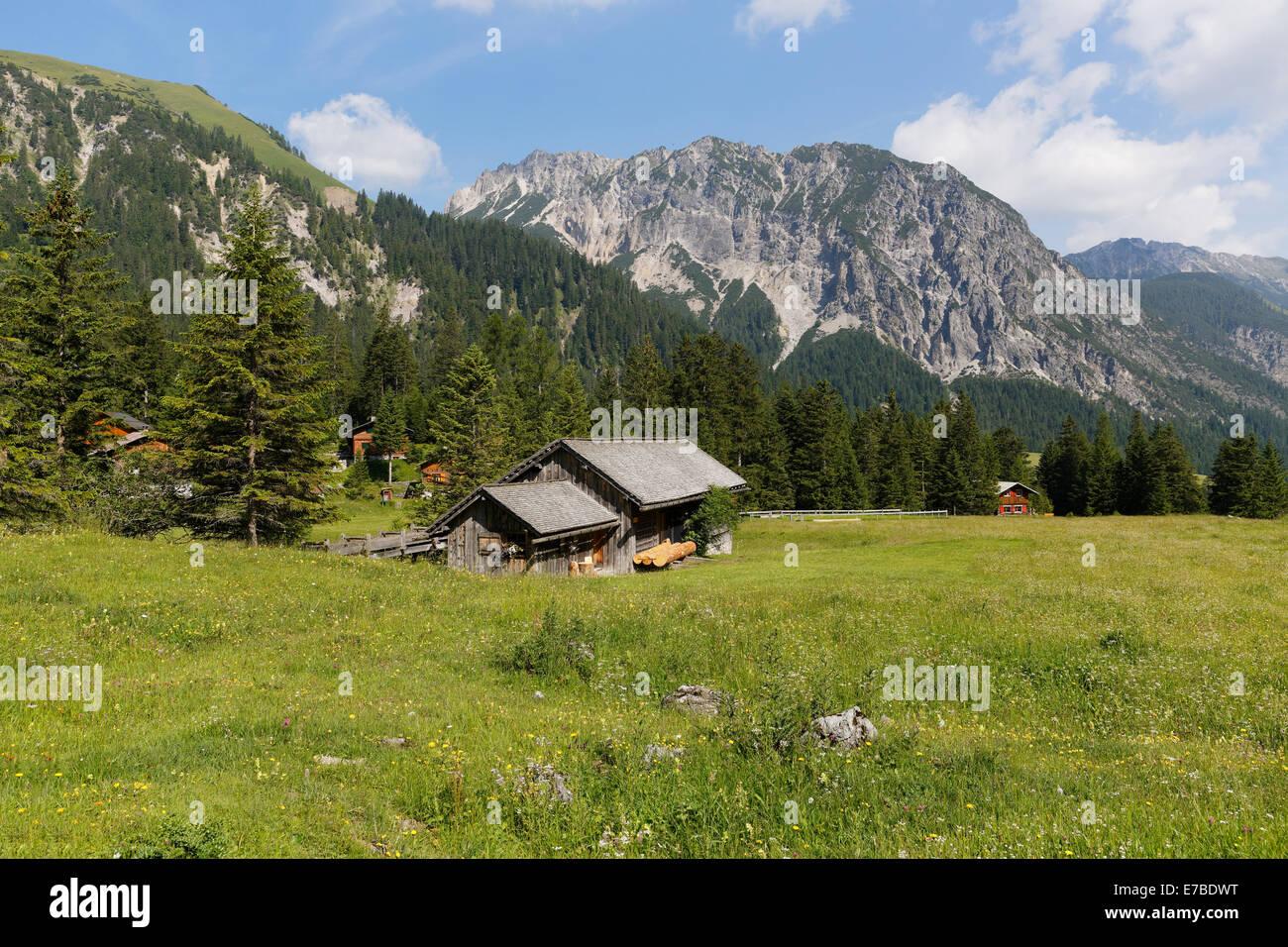 Nenzinger Himmel alpine village, in the back Rauher Berg, Gamperdonatal, Nenzing community, Rätikon, Vorarlberg, - Stock Image