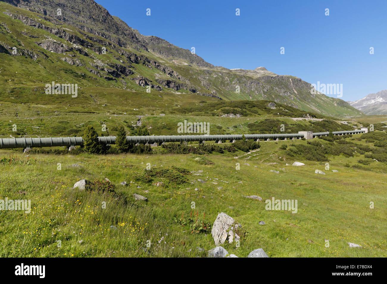 Water pipeline from the Silvretta reservoir, Bielerhöhe pass, Vermunt, Vorarlberg, Austria - Stock Image