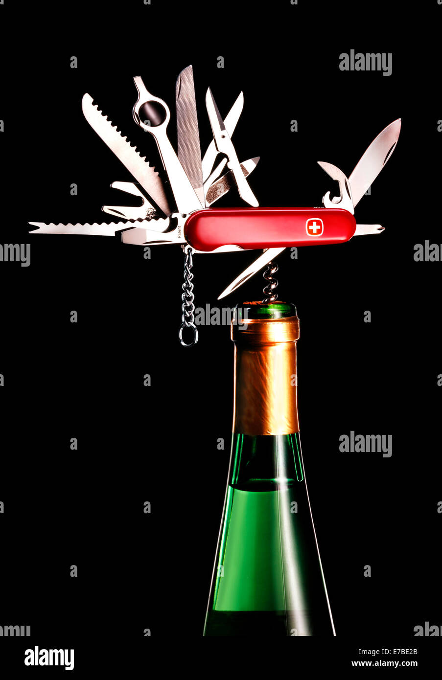 Swiss Army knife, with all parts unfolded, corkscrew in a white wine bottle - Stock Image