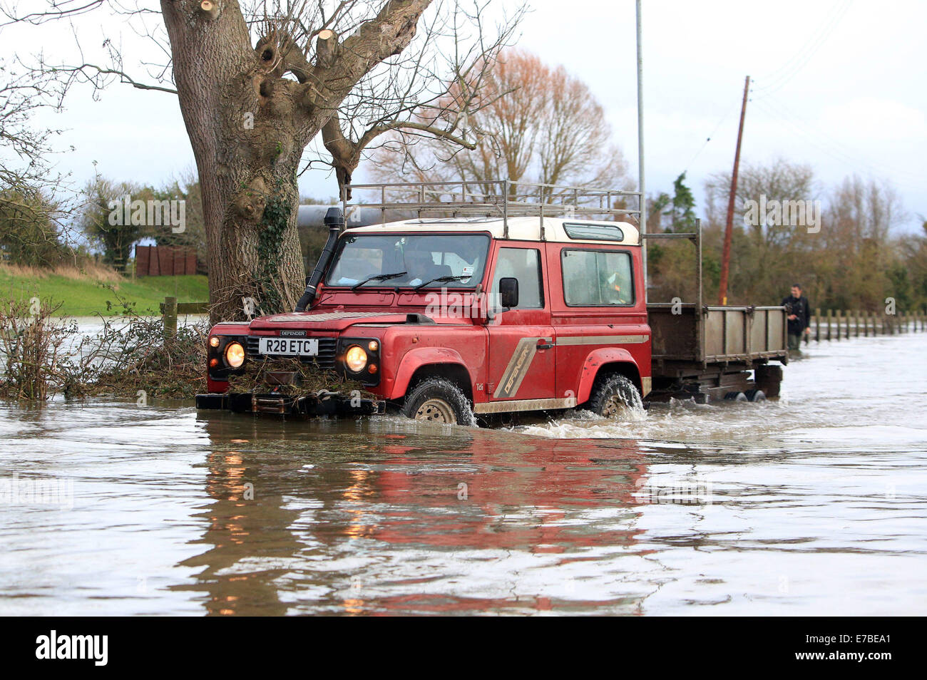 Residents of Burrowbridge, Somerset, use tractors and Land Rovers to get through the flood water that has risen Stock Photo