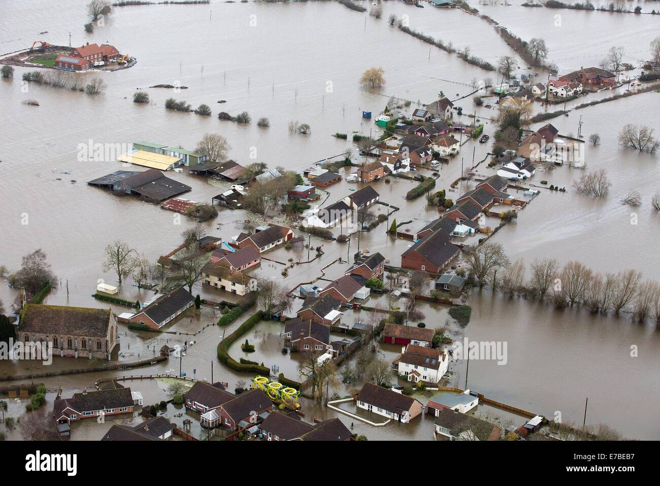 Aerial views of Moorland, on the flooded Somerset Levels. Stock Photo