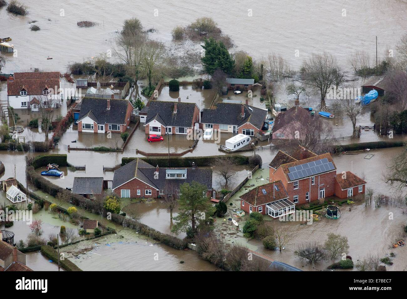 The flooded village of Moorland, Somerset. Where all but a handful of residents have been evacuated due to the high - Stock Image