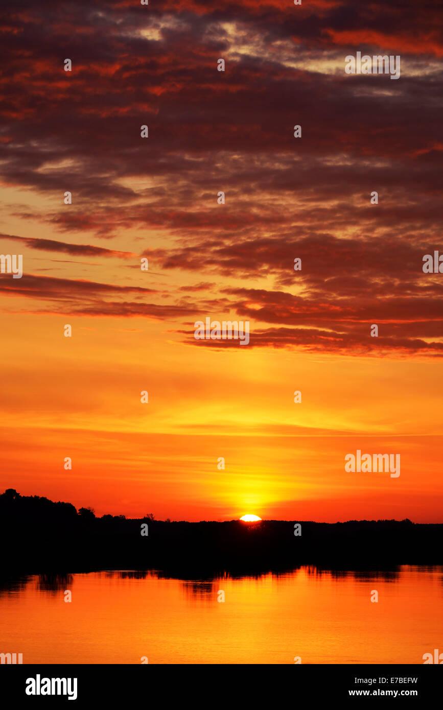 Sunrise, Biebrza National Park, Podlaskie Voivodeship, Poland - Stock Image