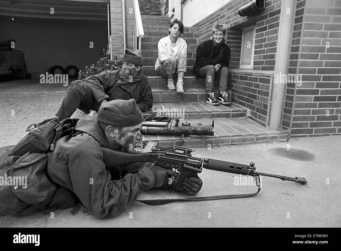 NATO exercises in Germany, British Army soldiers in a village (September 1985) - Stock Image