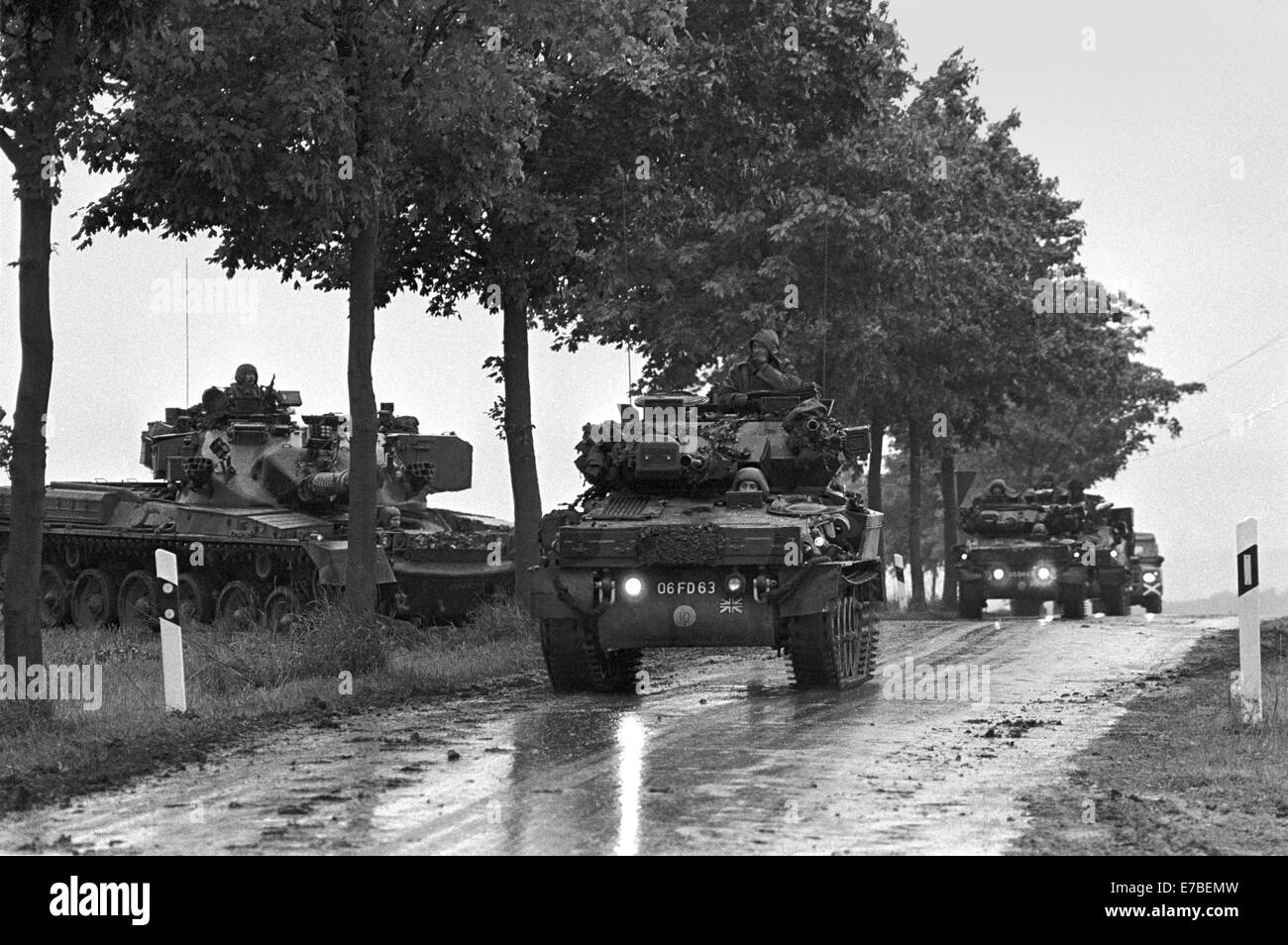 NATO exercises in Germany, British Army armored vehicles (September 1986). - Stock Image