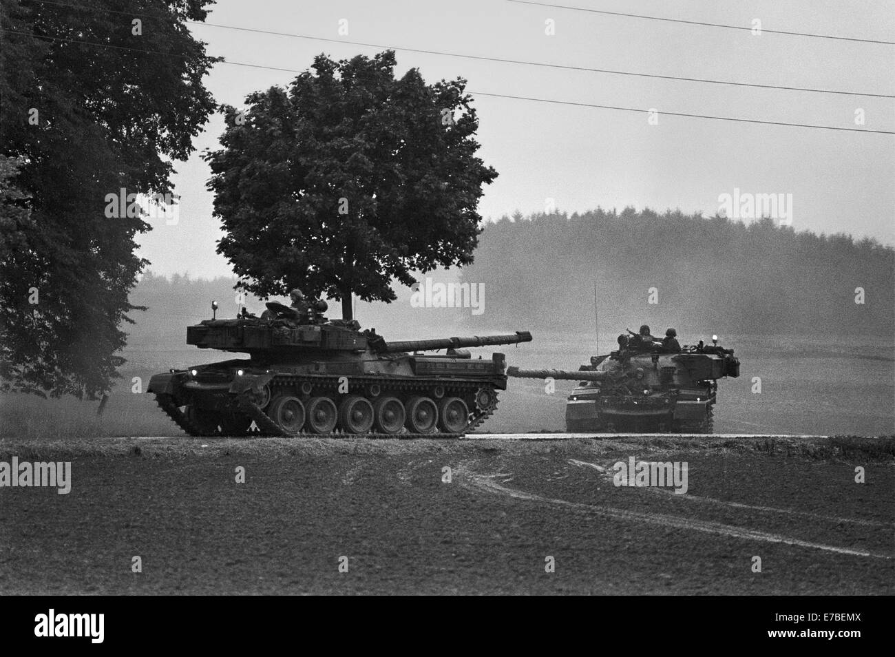 NATO exercises in Germany, British Army Chieftain tanks (September 1986) - Stock Image