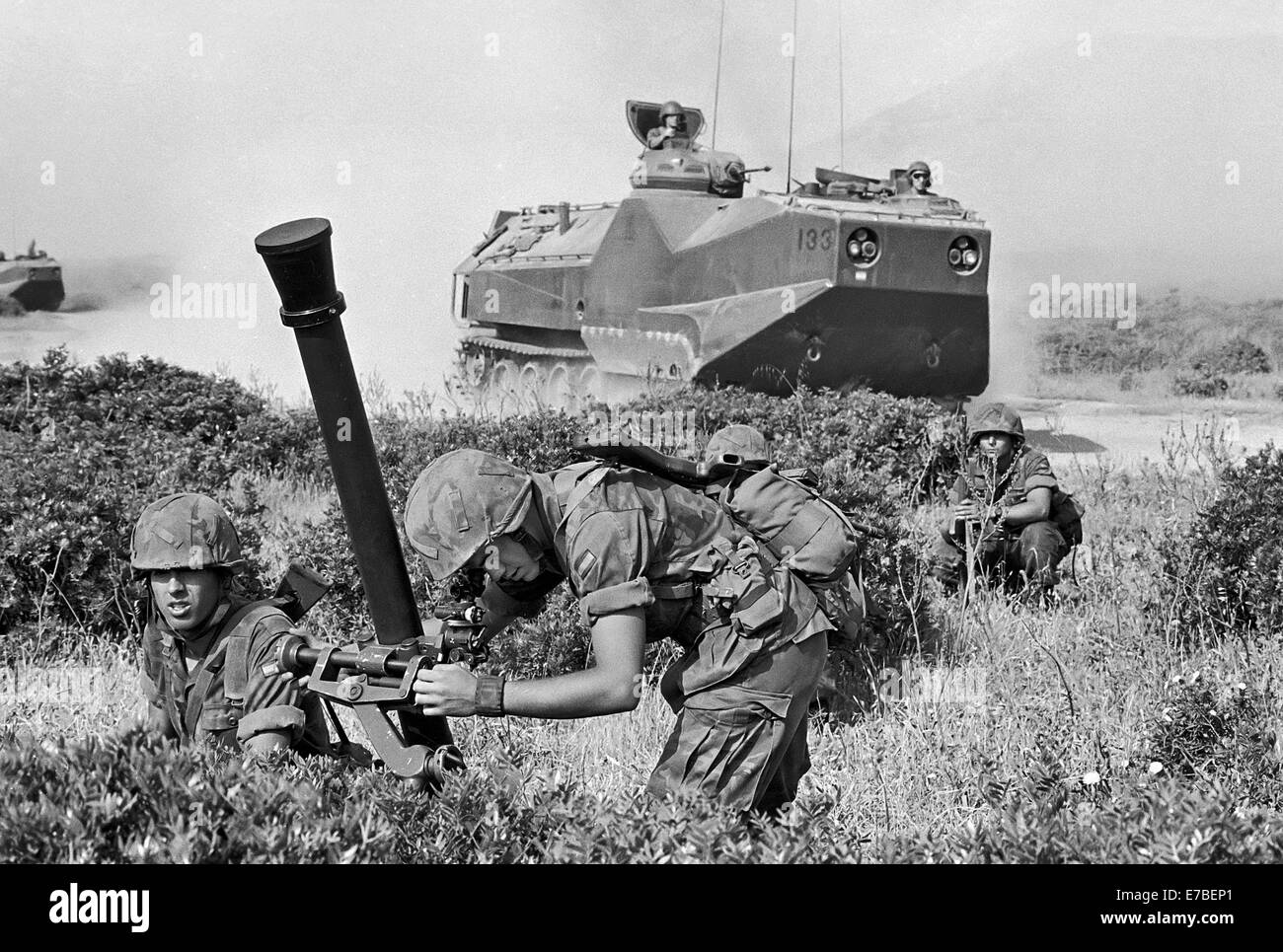 Spanish amphibious troops during NATO exercises in the Mediterranean Sea at cape Teulada (Sardinia, Italy, May 1992) - Stock Image