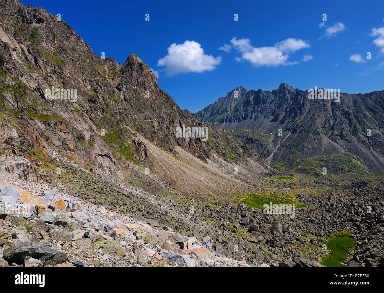 Stone Mountain moraine. Sayan mountains. Republic of Buryatia - Stock Image