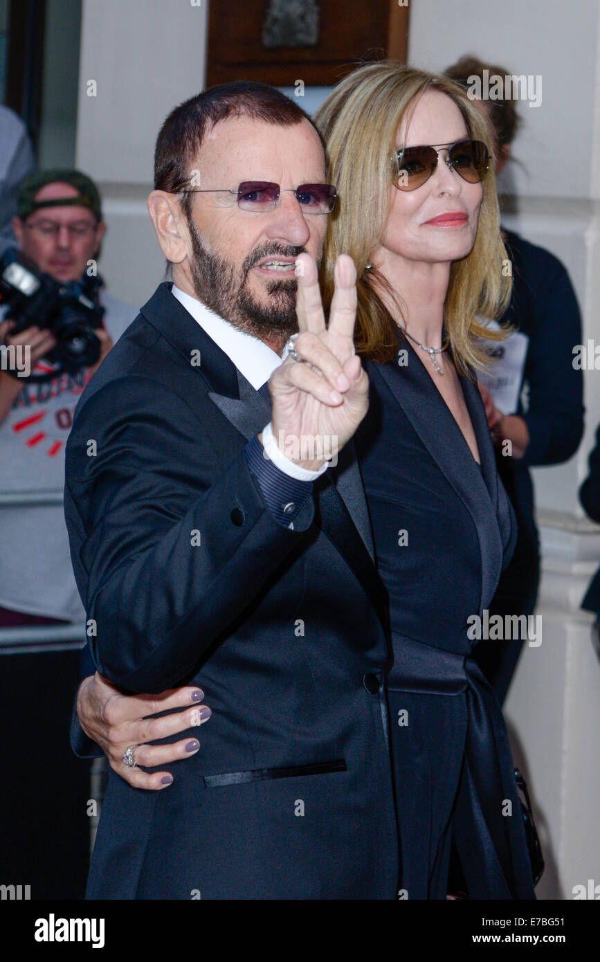 Barbara Bach and Ringo Starr arrives at the GQ Men of the Year Awards on 02/09/2014 at Royal Opera House, London. - Stock Image