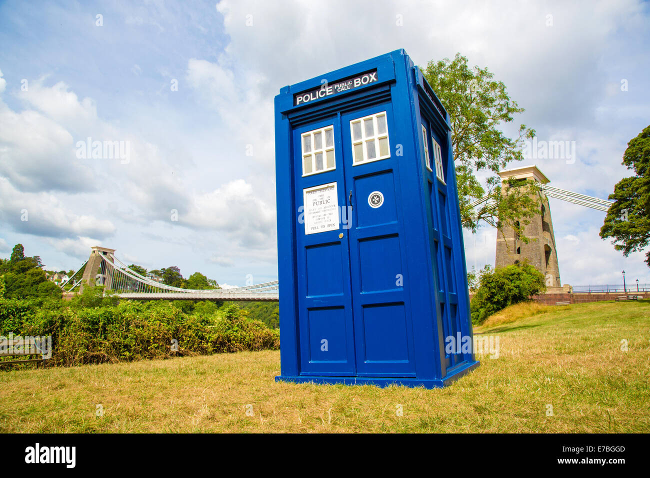 Time traveller Dr Who making a brief appearance at the Clifton Suspension Bridge in his Tardis - Bristol UK - Stock Image