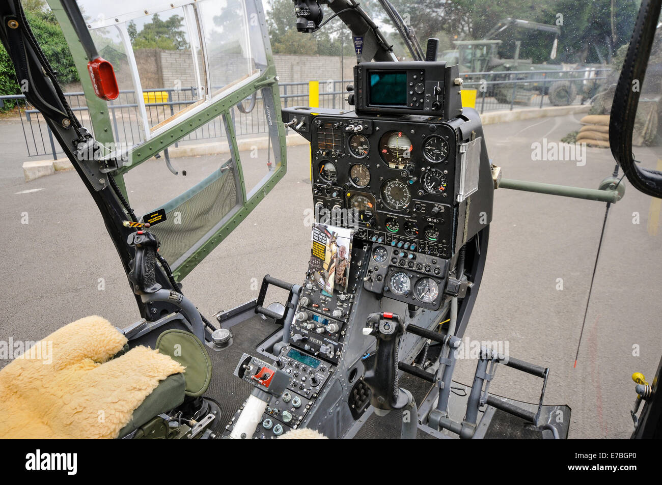 Cockpit of a Aerospaciale Gazelle military helicopter - Stock Image