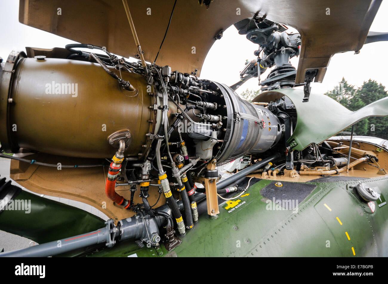 Gas turbine engine on an Aerospaciale Gazelle military helicopter - Stock Image