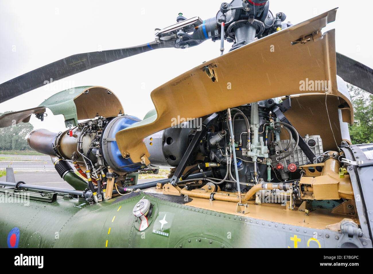 Gas turbine engine and gearbox on an Aerospaciale Gazelle military helicopter - Stock Image