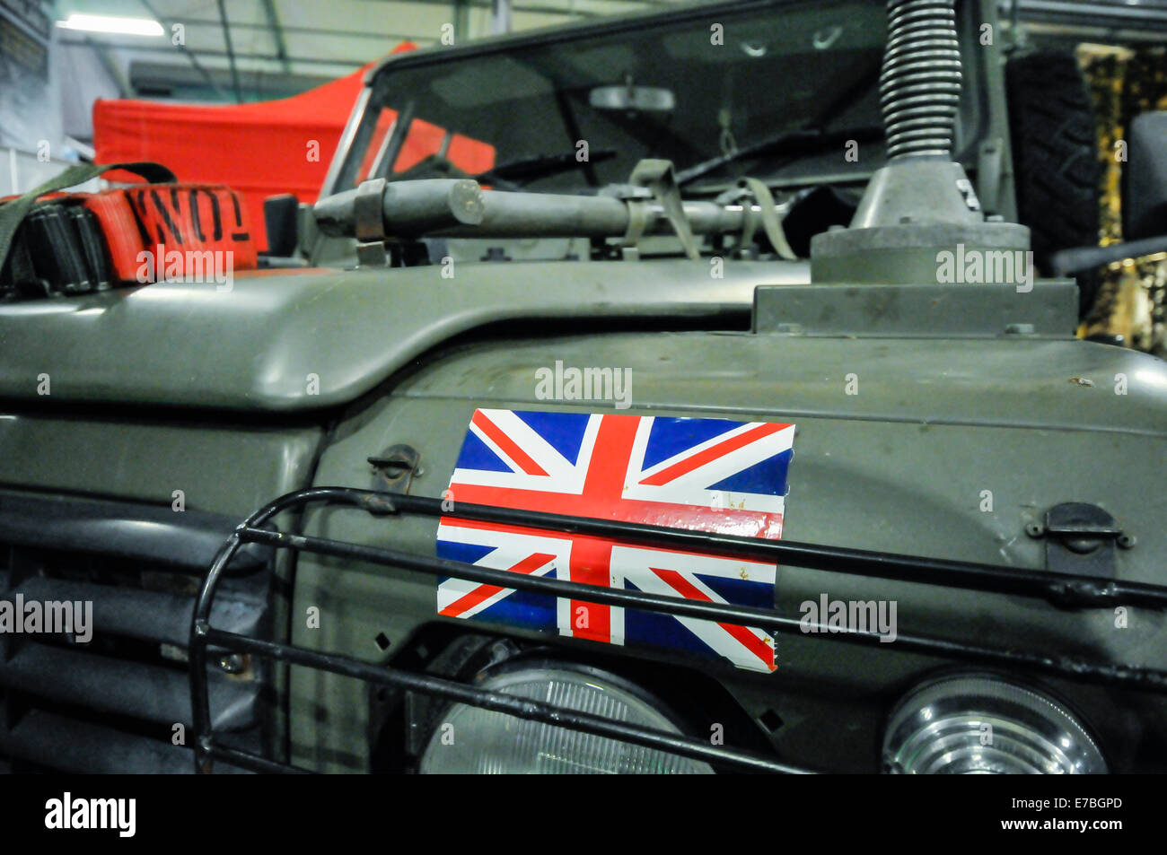 Union flag on the front of a British Army vehicle. - Stock Image