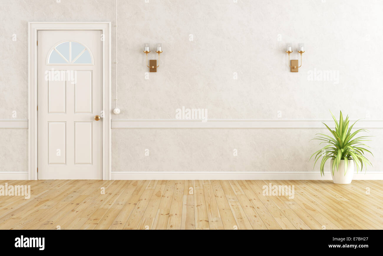 White classic home entrance with closed door - rendering - Stock Image
