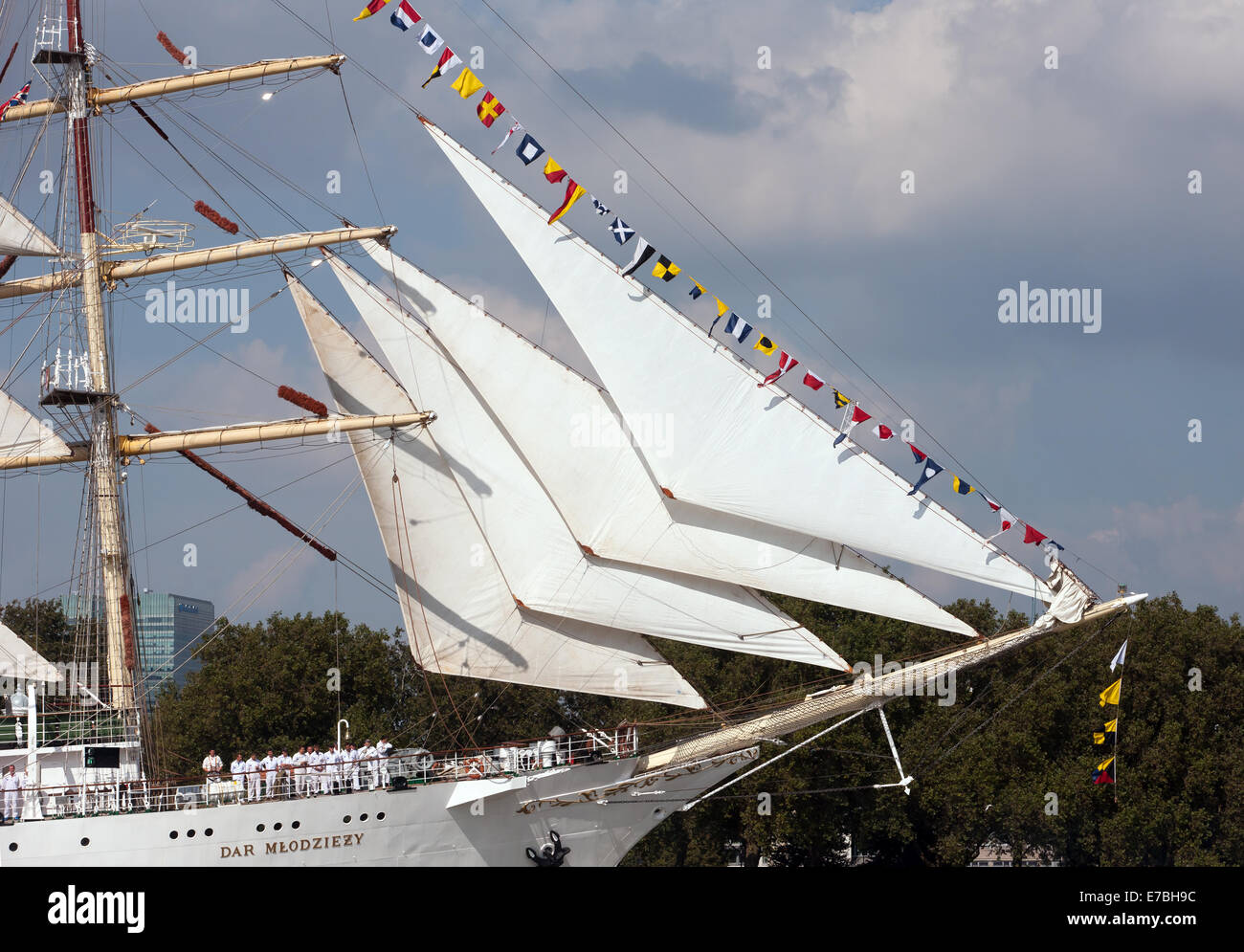 A Close-up image of the Bow of the Dar Mlodziez,  leading the Parade of Sail, during the Tall Ships Festival, Greenwich - Stock Image
