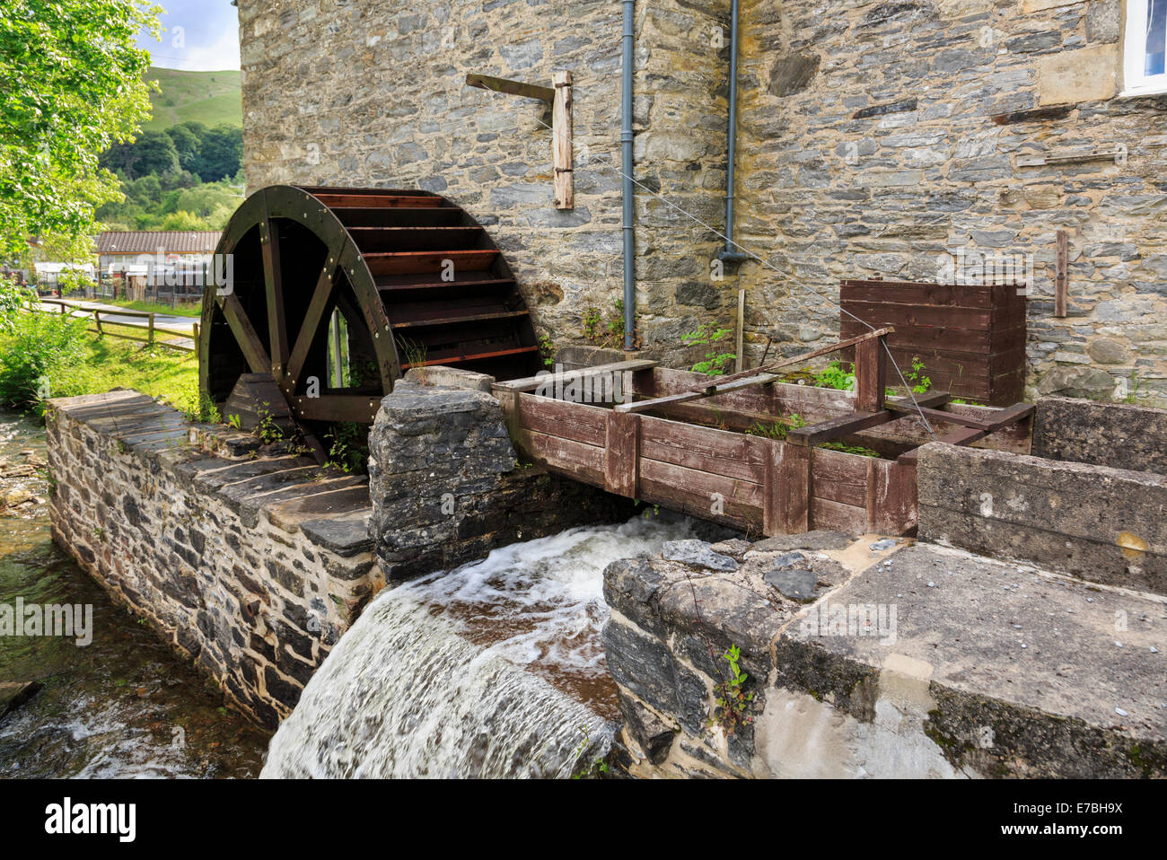 Outside an old working watermill wheel and stream. Blair Atholl, Perth and Kinross, Scotland, UK, Britain - Stock Image