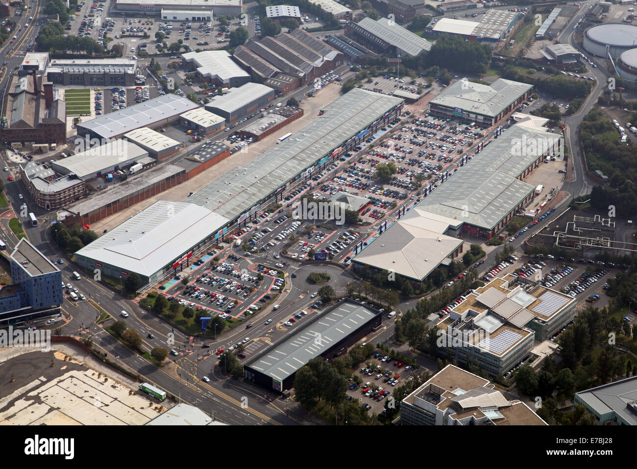 aerial view of Crown Point Retail Park in south Leeds, UK - Stock Image