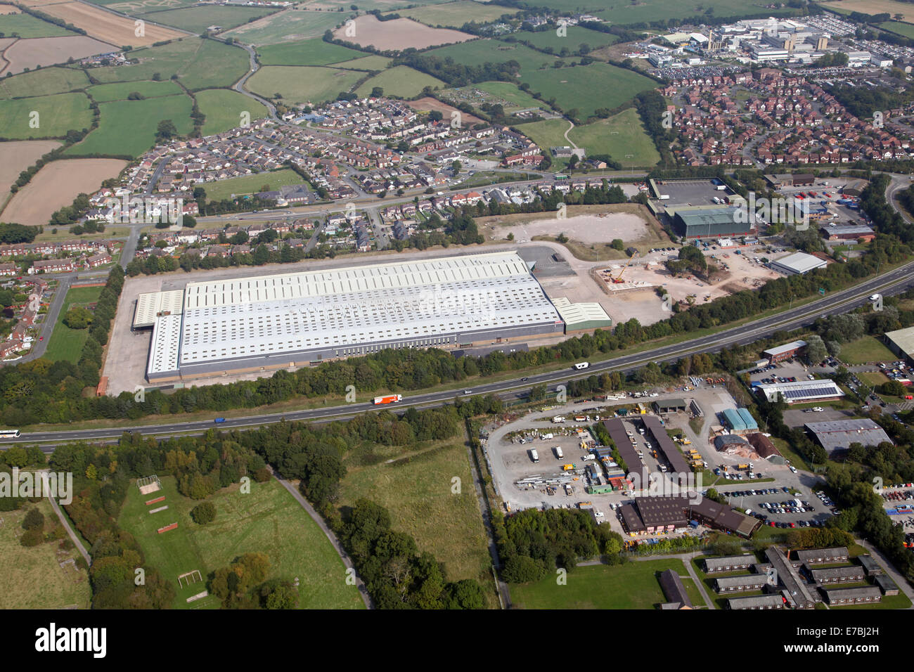 aerial view of Indesit-owned Hotpoint factory which closed in 2009 with the loss of 300 jobs, near Rhyl in North - Stock Image