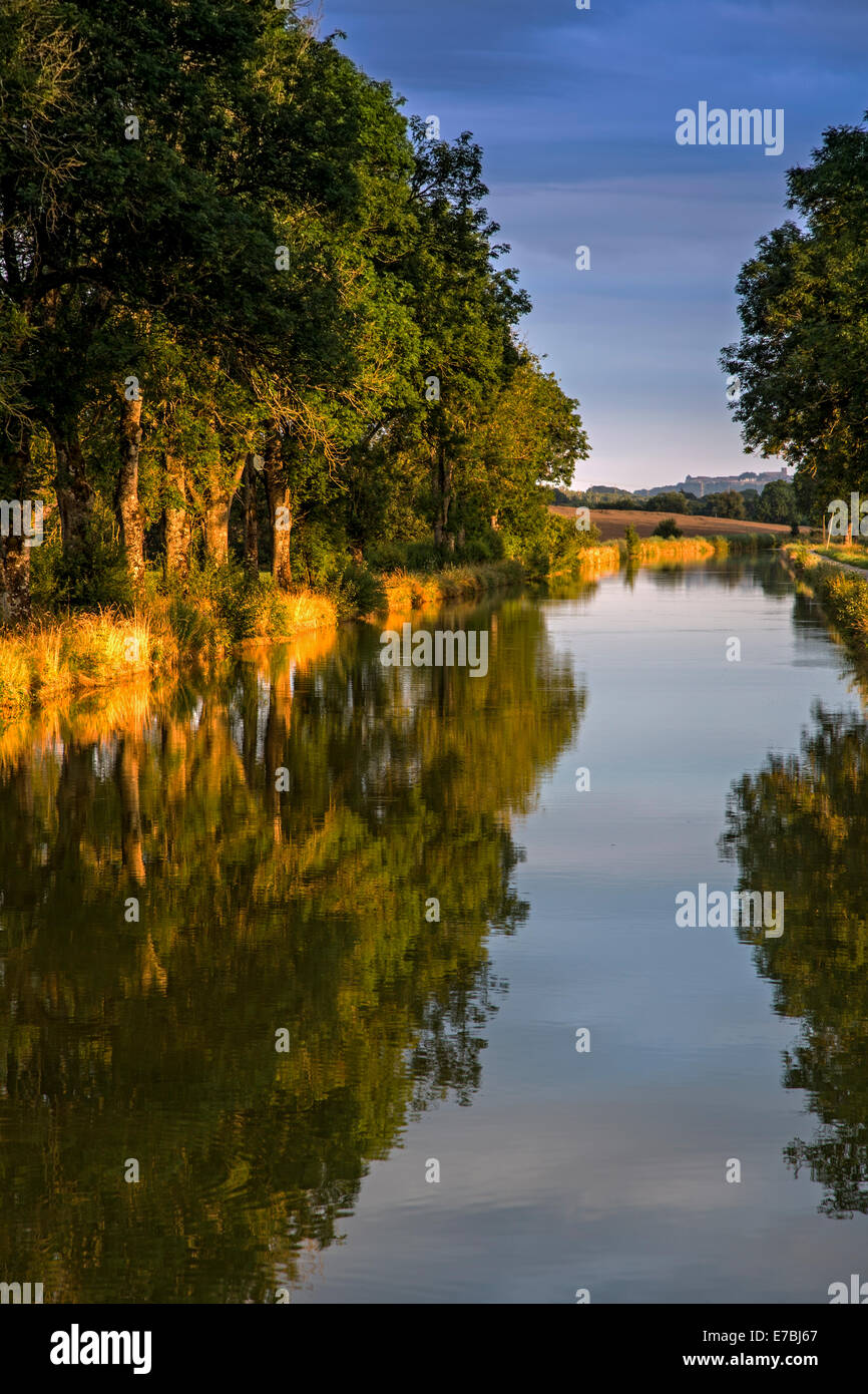 Sunset on Canal Champagne et Bourgogne France - Stock Image