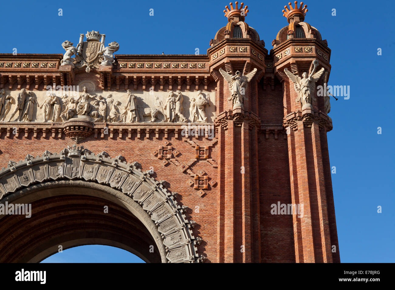 Detail of the Arc de Triomf in Barcelona, Catalunia, Spain - Stock Image