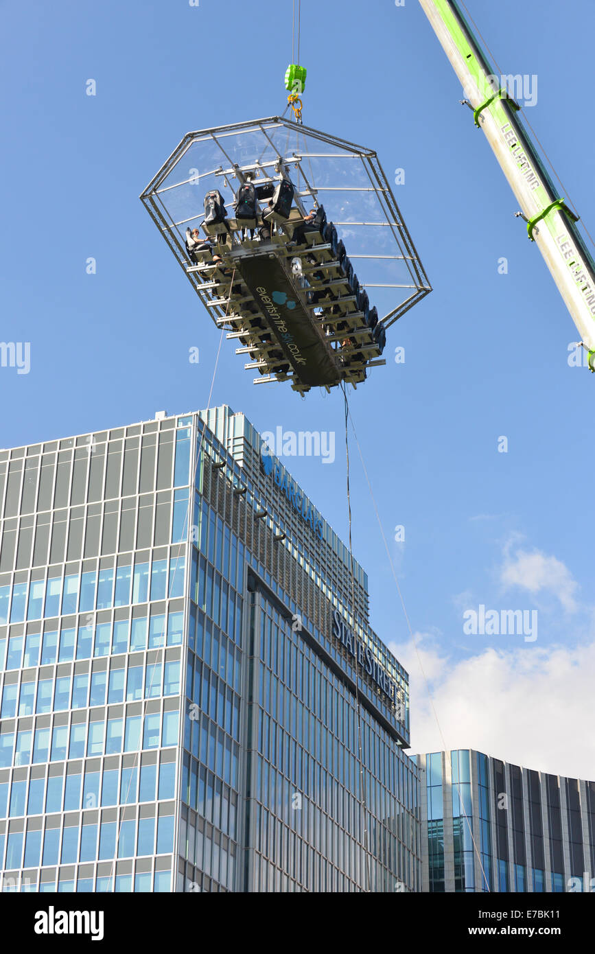 Canary Wharf, London, UK. 12th September 2014. Events in the Sky host London's first 360-degree open air restaurant, Stock Photo