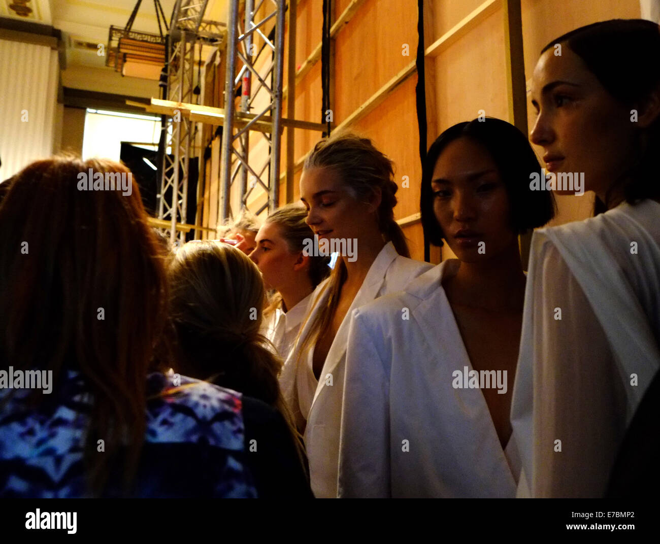 London, UK. 12th September, 2014. London Fashion Week SS15: Backstage at 'Ones to Watch'  Models wearing - Stock Image