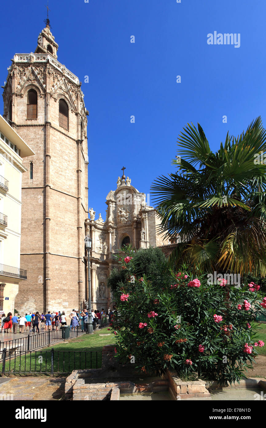 Plaza de la Reina with the El Miguelete bell tower, Valencia Cathedral Santa Maria, Valencia City, Spain, Europe. Stock Photo