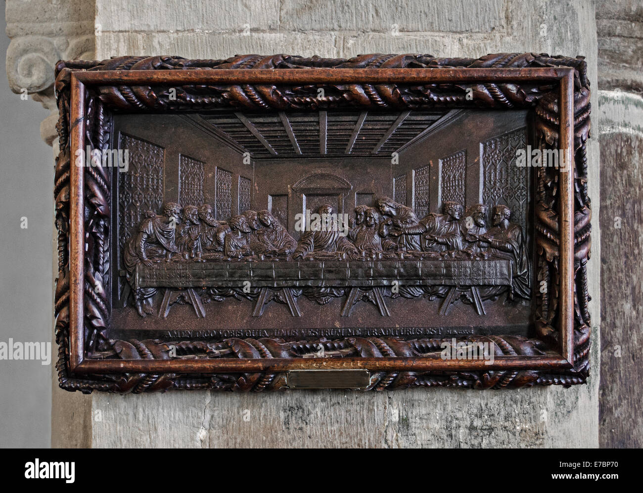 Medieval wood carving of the last supper stock photo image of