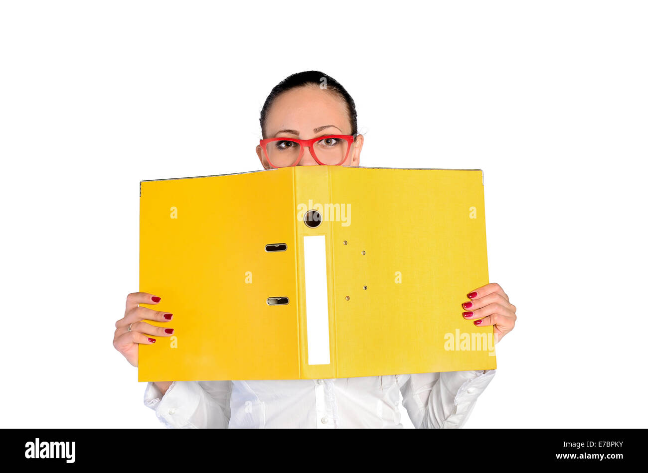 young business woman with yellow dossier on white - Stock Image