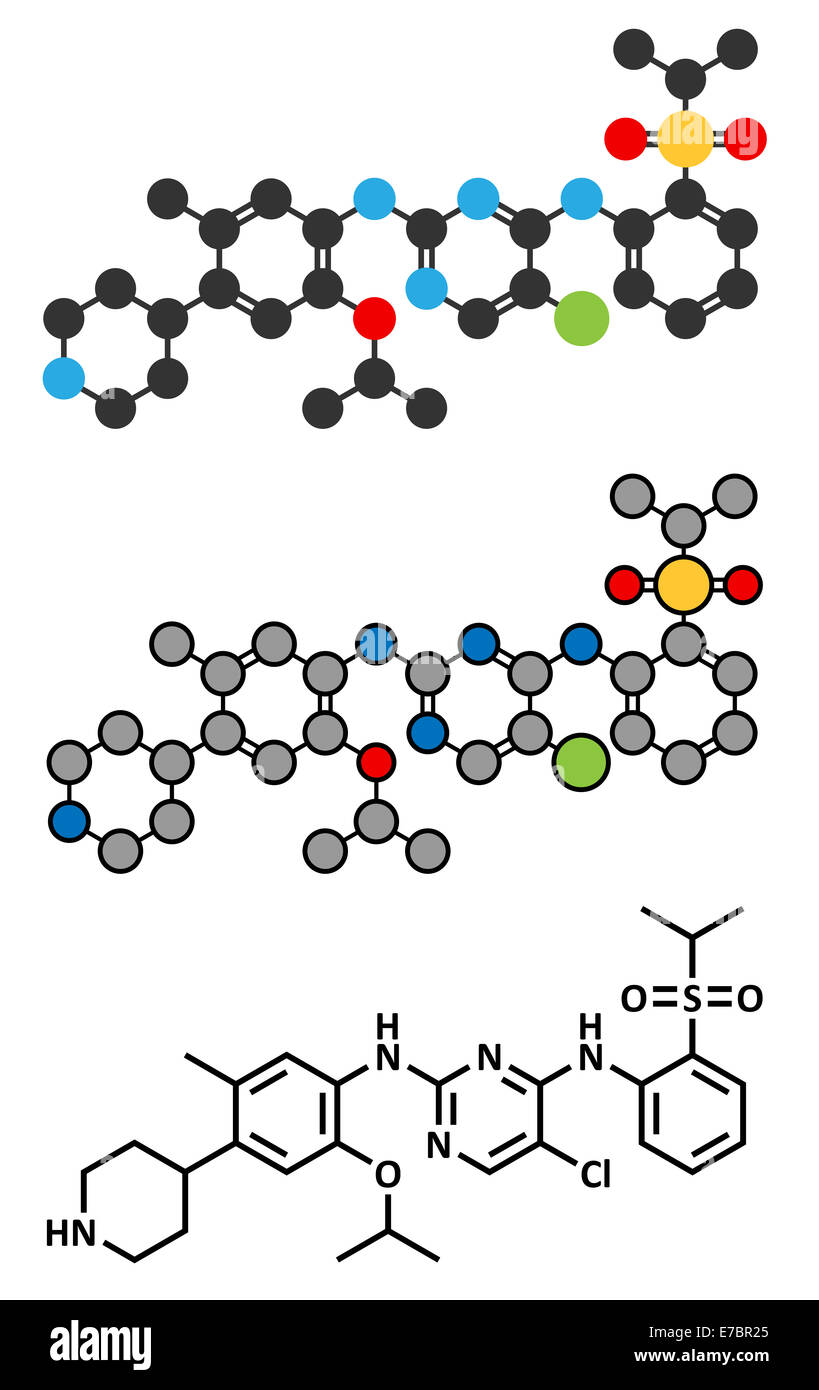Ceritinib cancer drug molecule. ALK inhibitor used in treatment of metastatic non-small cell lung cancer. Conventional - Stock Image
