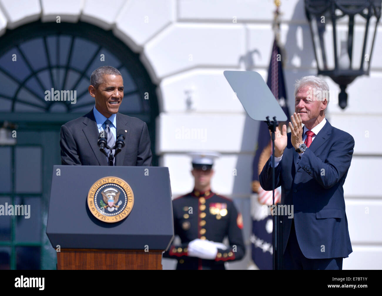 Washington, DC, USA. 12th Sep, 2014. U.S. President Barack Obama (L) and former President Bill Clinton (R) attend Stock Photo