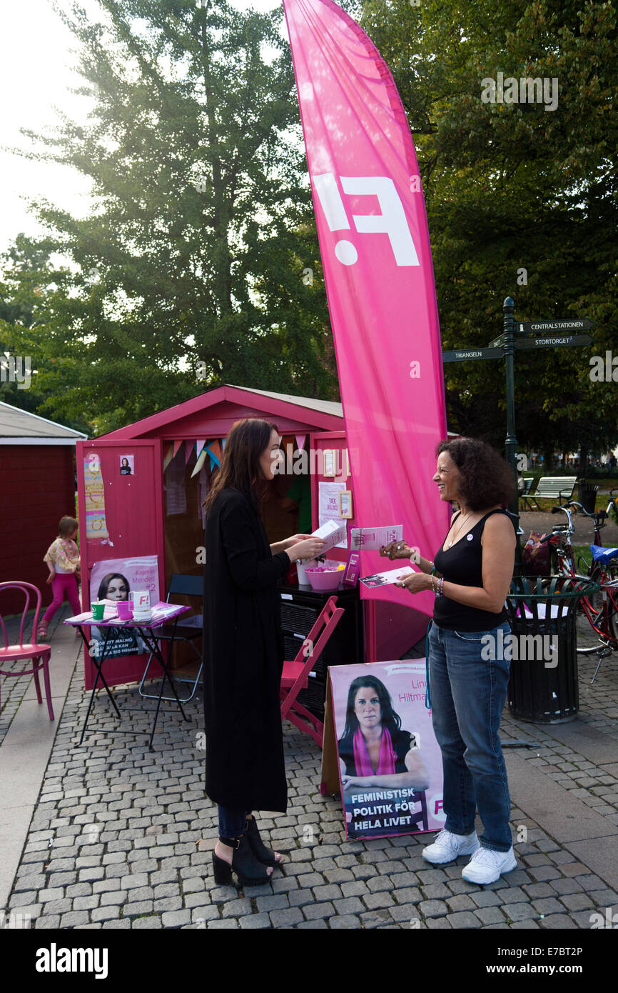 Malmö, Sweden. 12th September, 2014.  Feminist party – the Feminist Initiative, or Fi - is campaigning at Gustav - Stock Image