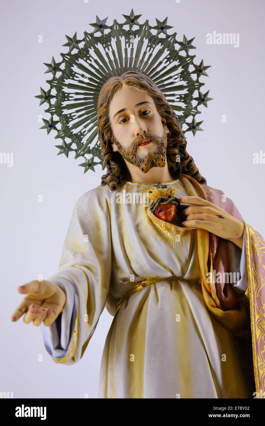 Statue of Jesus and the Sacred Heart in the Sanctuary of the Rock (Santuario da Penha) in Guimaraes, Portugal. - Stock Image