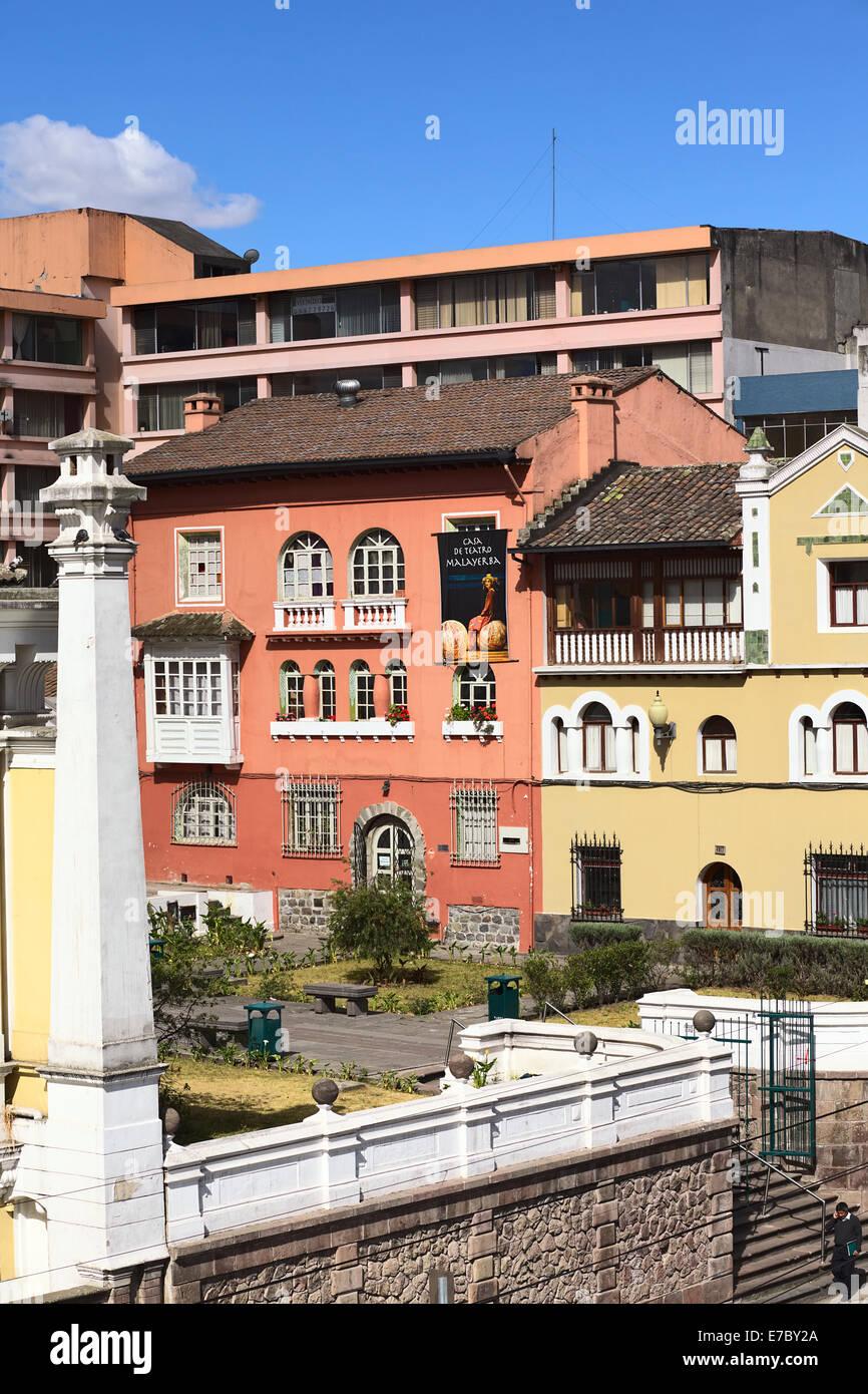 Casa de Teatro Malayerba (House of the Malayerba Theater) on Luis Sodiro Street close to Alameda Park in Quito, - Stock Image